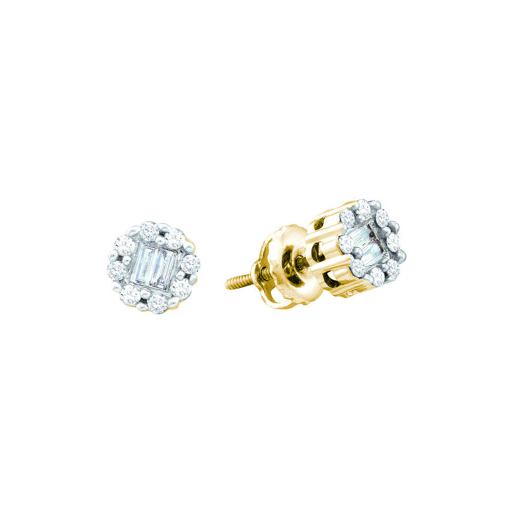 14k Yellow Gold Baguette Round Natural Diamond Womens Cluster Screwback Stud Earrings 1/4 Cttw