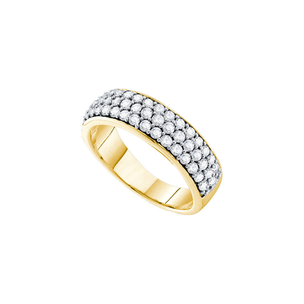 10k Yellow Gold Round Pave-set Natural Diamond Womens Wedding Anniversary Band 1.00 Cttw