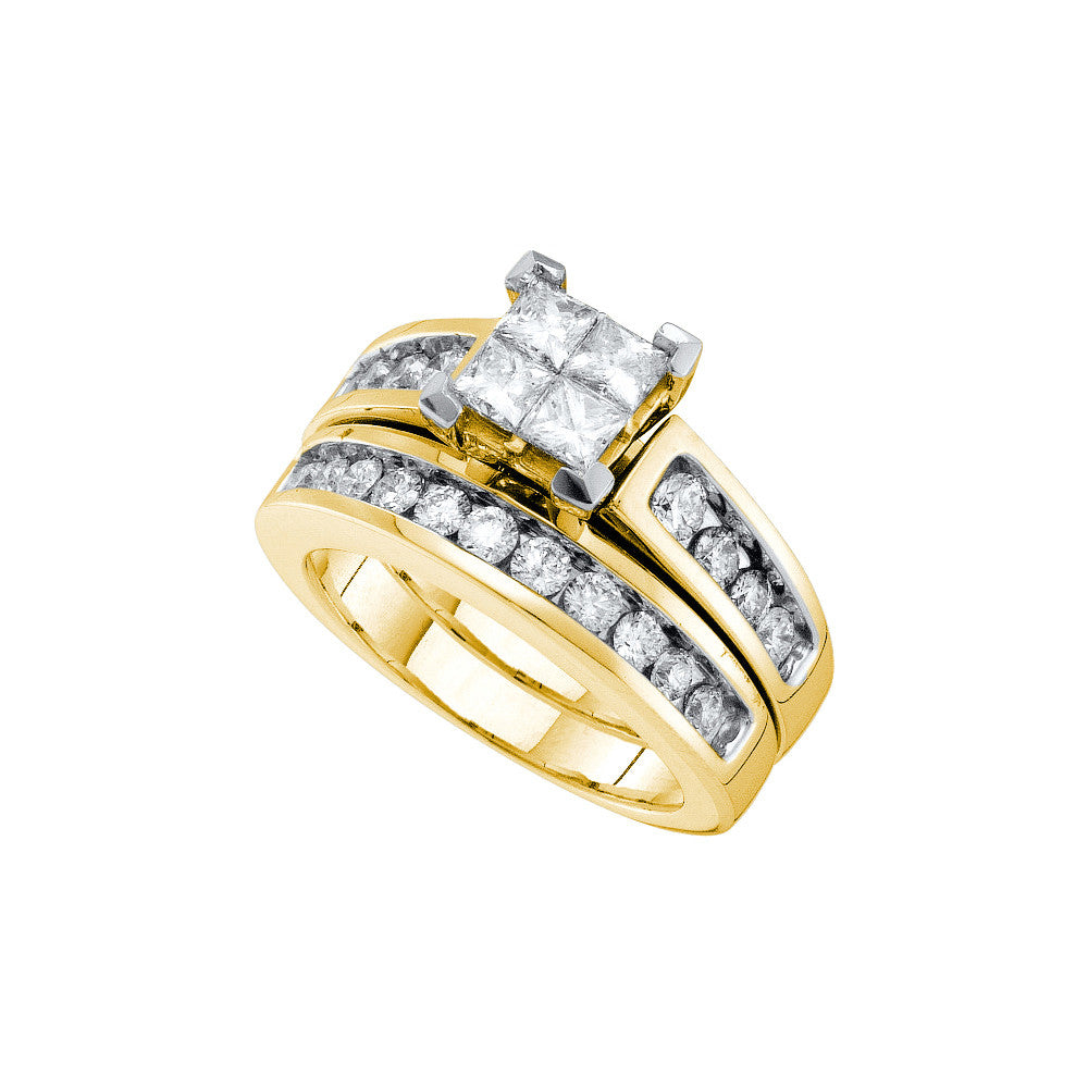 14kt Yellow Gold Womens Natural Diamond Princess Bridal Wedding Engagement Ring Band Set 1 & 1/2 Cttw