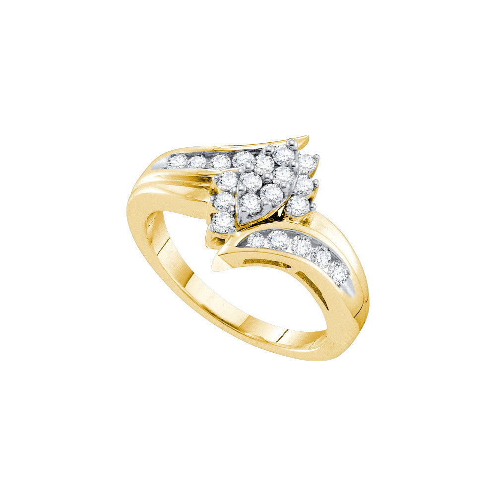 14kt Yellow Gold Womens Round Natural Diamond Cluster Fashion Ring 1/2 Cttw