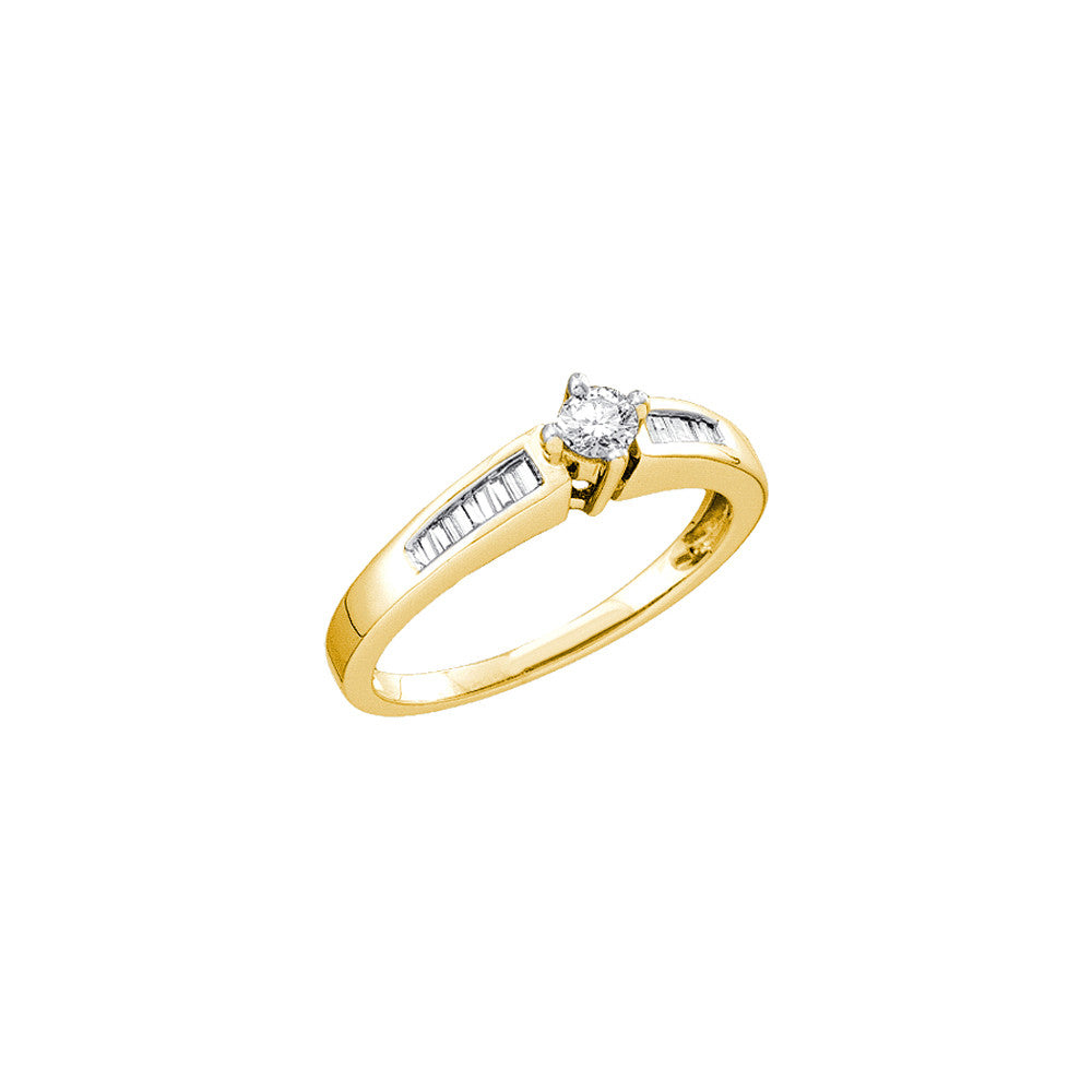 14k Yellow Gold Round Natural Diamond Solitaire Womens Wedding Bridal Engagement Ring 1/4 Cttw
