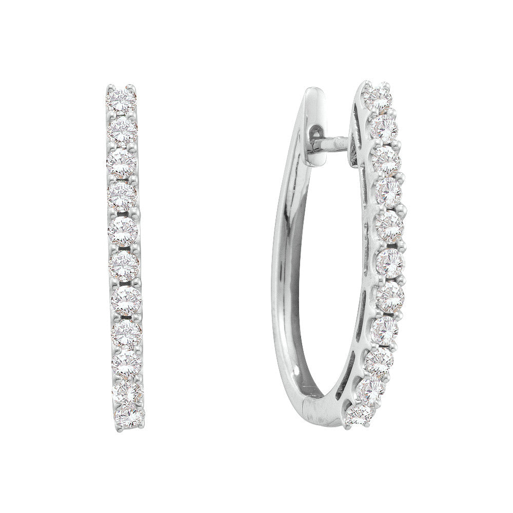 14kt White Gold Womens Round Natural Diamond Hoop Fashion Earrings 1.00 Cttw