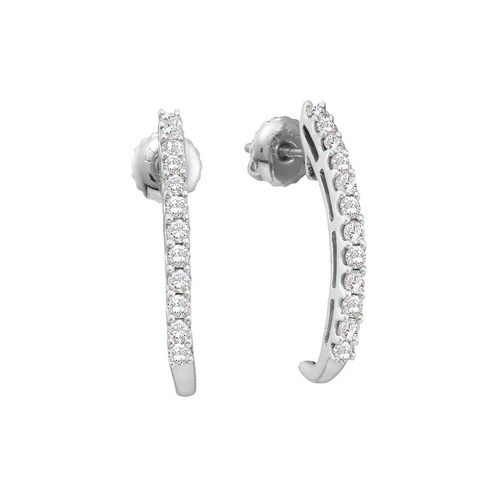 14k White Gold Round Pave-set Natural Diamond Womens Half-hoop Screwback Stud Earrings 1/2 Cttw