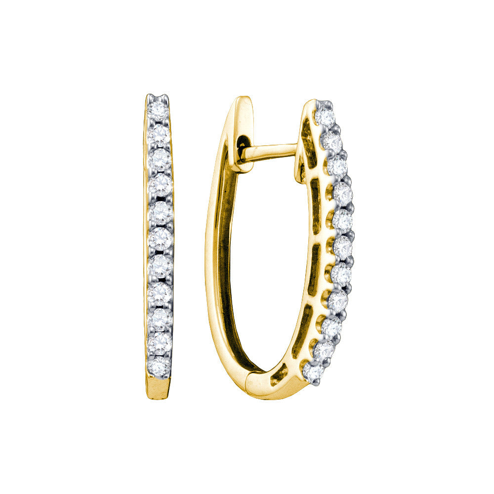 14k Yellow Gold Round Natural Pave-set Diamond Womens Slender Oblong Classic Hoop Earrings 1/4 Cttw