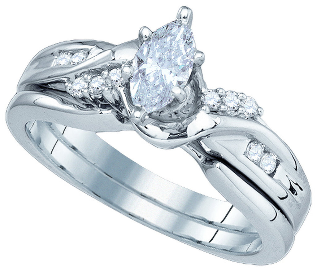 14k White Gold Marquise Natural Diamond Womens Classic Wedding Bridal Ring Set 1/2 Cttw