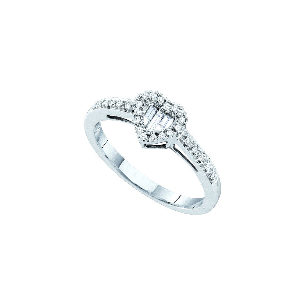 14k White Gold Round Baguette Natural Diamond Womens Heart Love Valentines Ring 1/6 Cttw