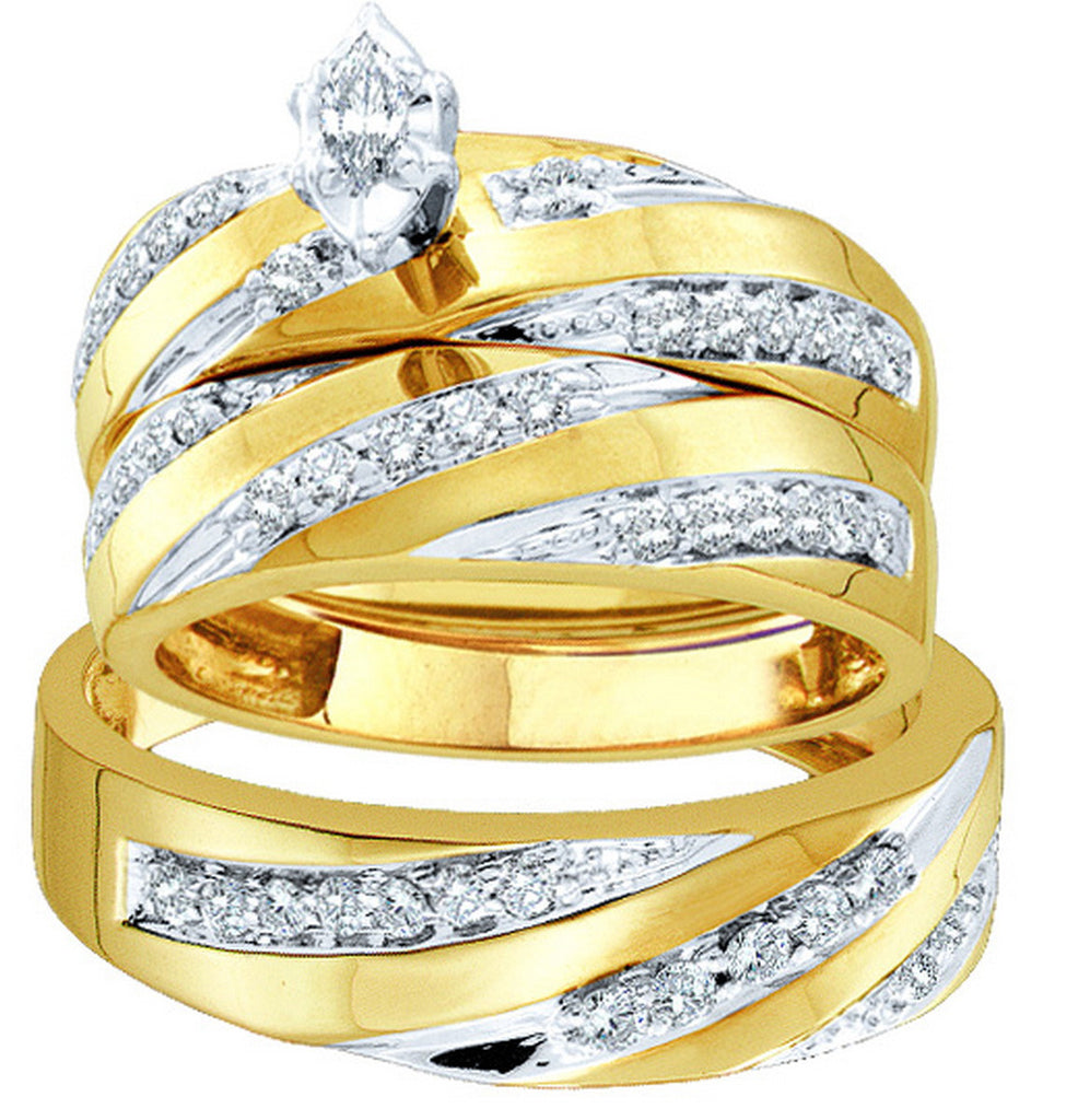 10k Yellow Gold Marquise Diamond Womens Mens Matching Trio Wedding Bridal Ring Band Set 3/4 Cttw