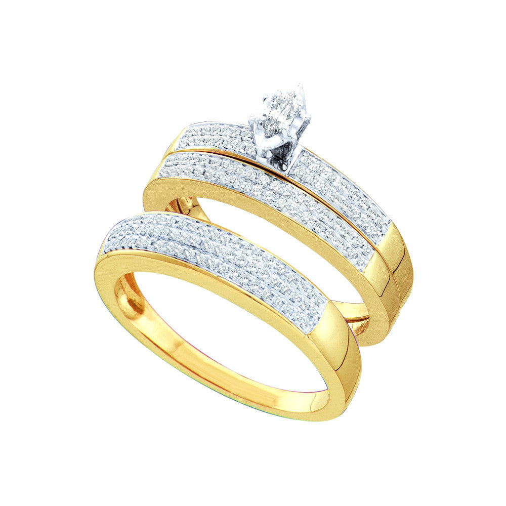 10k Yellow Gold Marquise Diamond Solitaire Mens Womens His & Hers Matching Trio Wedding Bridal Set 1/2 Ctw