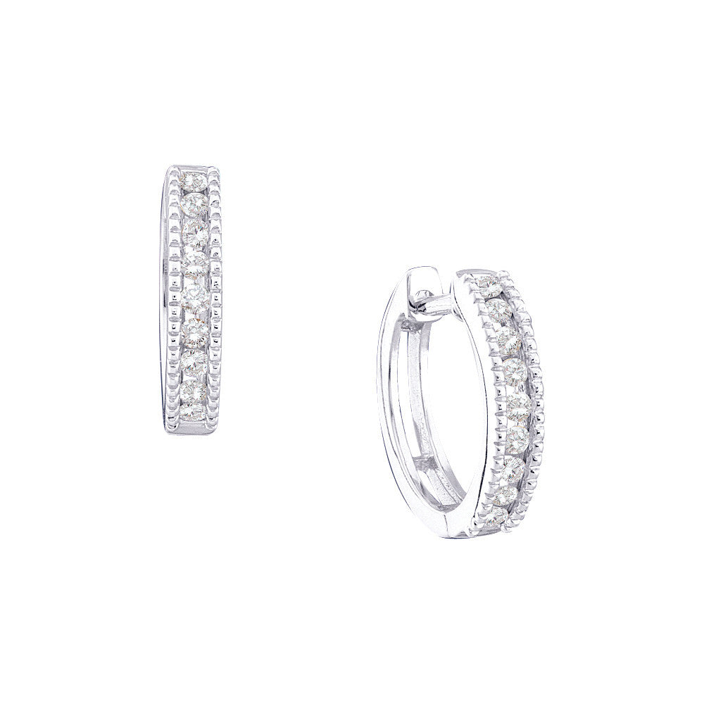 10k White Gold Round Channel-set Diamond Womens Simple Milgrain-accent Hoop Fine Earrings 1/4 Cttw