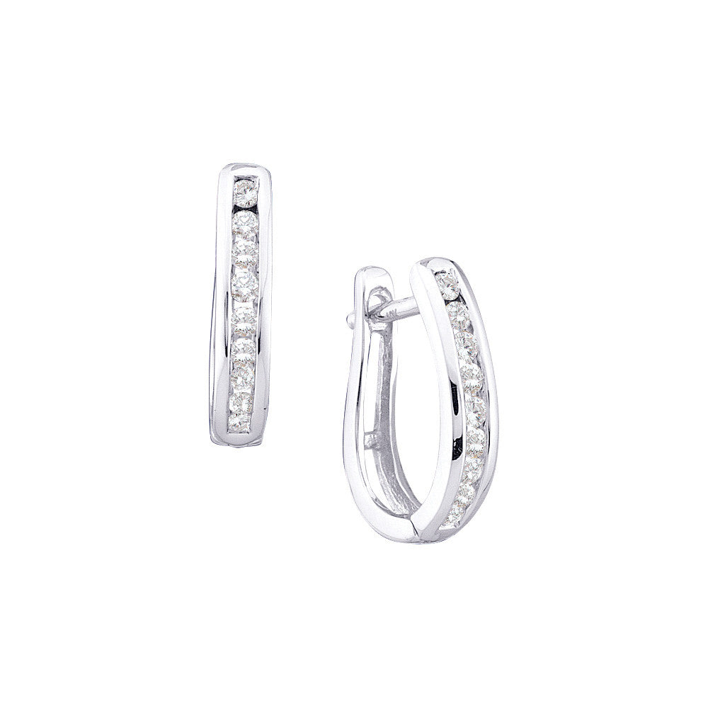 10k White Gold Round Channel-set Natural Diamond Huggie Hoop Womens Earrings 1/4 Cttw