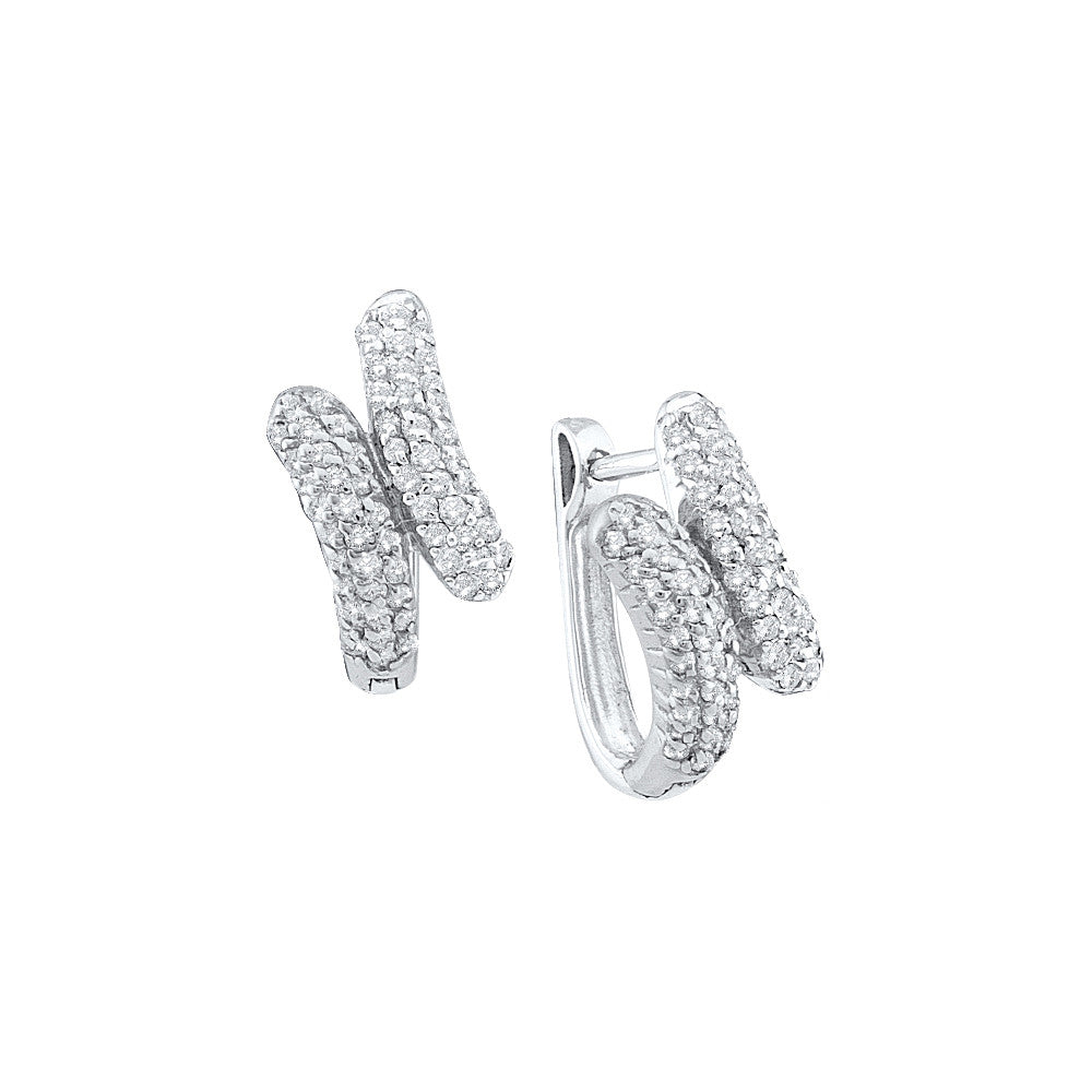 14k White Gold Round Pave-set Natural Diamond Womens Bypass-style Hoop Earrings 1/2 Cttw