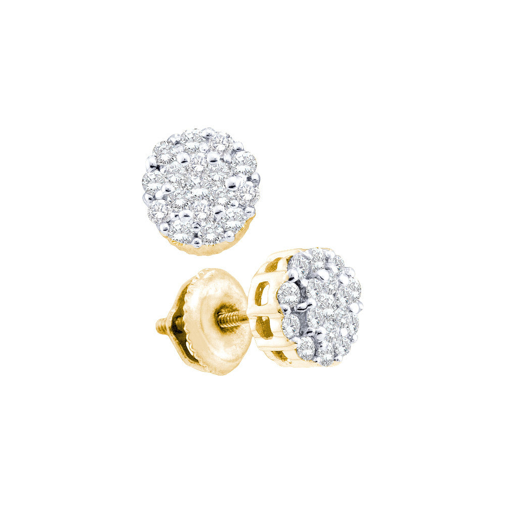 14k Yellow Gold Round Diamond Flower Cluster Womens Fine Luxury Screwback Stud Earrings 1/2 Cttw