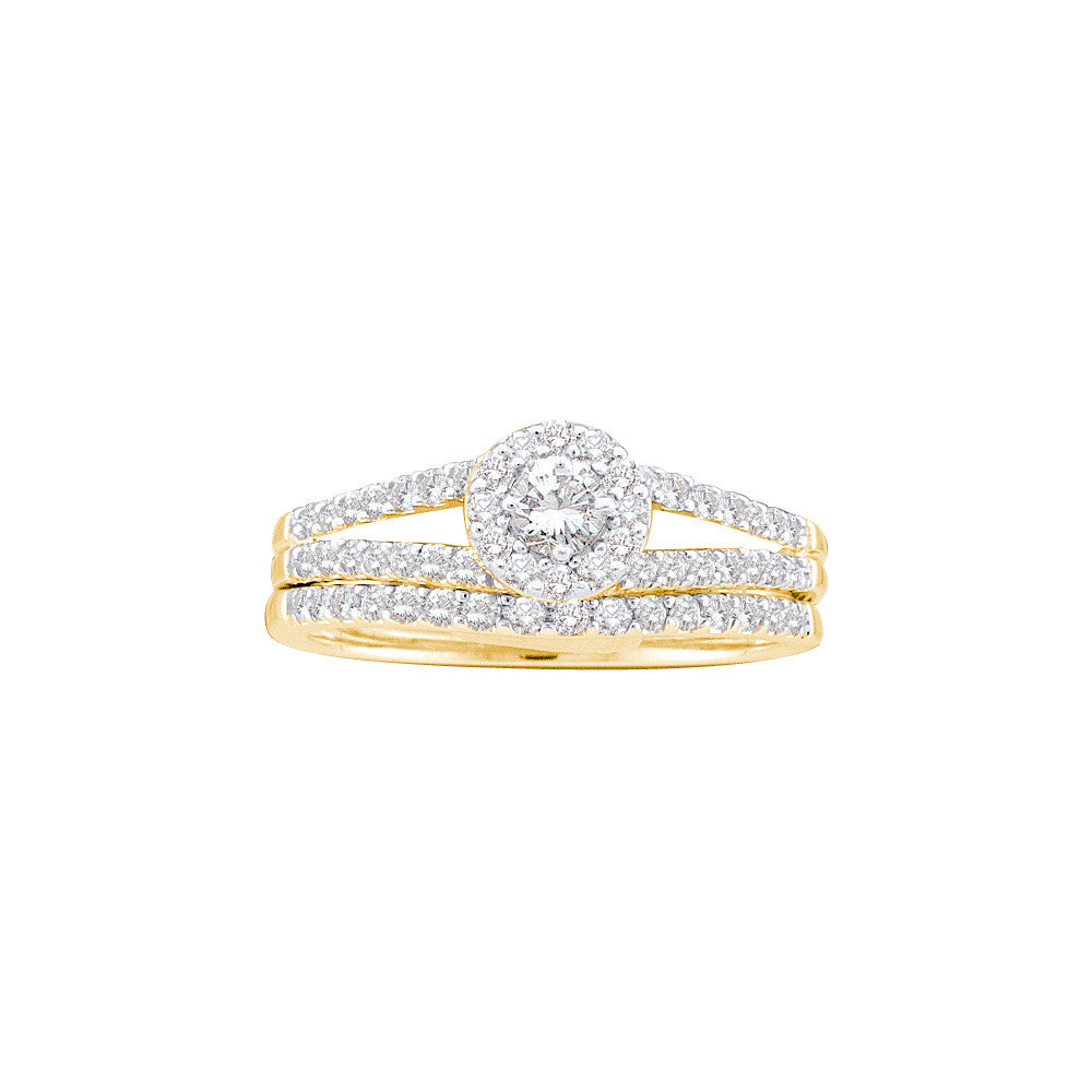 14kt Yellow Gold Womens Round Natural Diamond Split-shank Halo Bridal Wedding Engagement Ring Band Set 5/8 Cttw