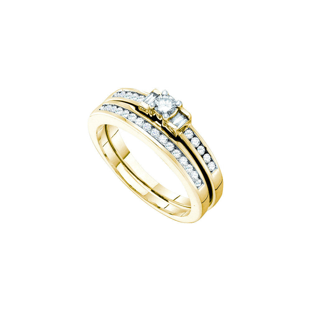 10k Yellow Gold Round Baguette 3-stone Diamond Womens Wedding Bridal Ring Set 3/8 Cttw