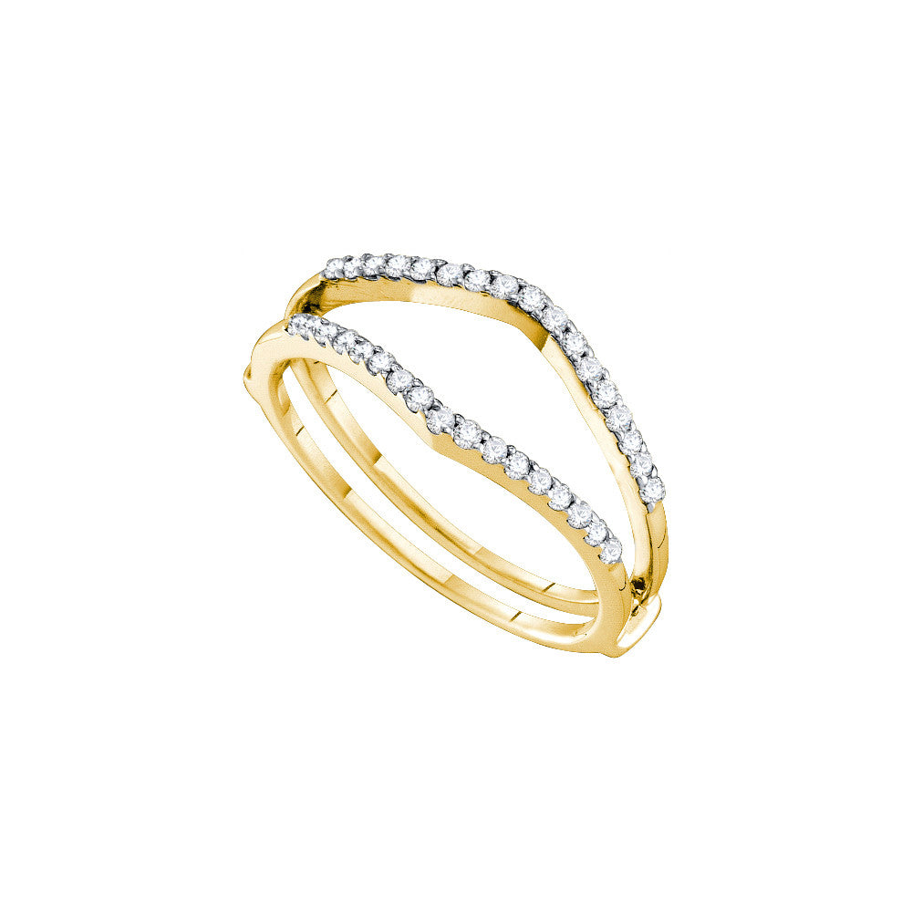 14k Yellow Gold Natural Diamond Womens Bridal Wedding Ring Guard Enhancer 1/4 Cttw