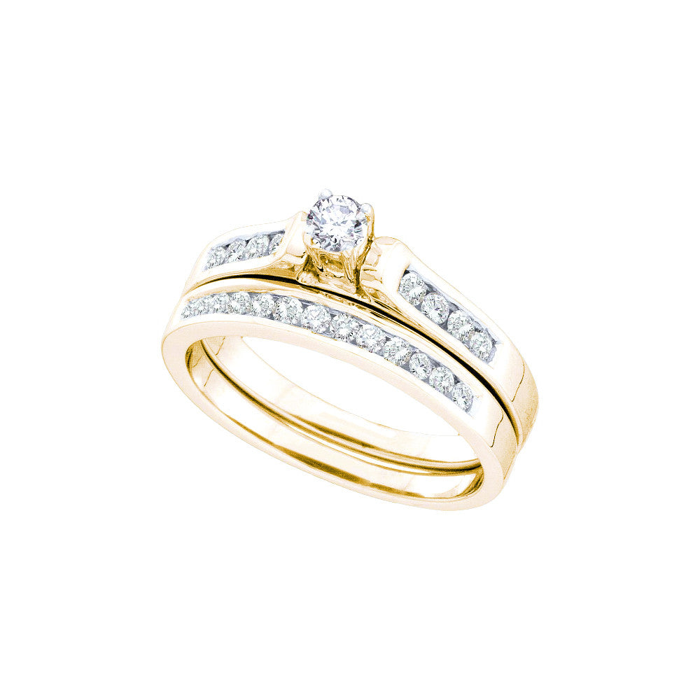 14k Yellow Gold Round Natural Diamond Solitaire Womens Wedding Bridal Engagement Ring Set 1/2 Cttw