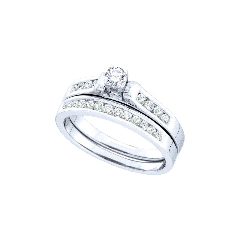 14k White Gold Round Natural Diamond Solitaire Womens Wedding Bridal Engagement Ring Set 1/2 Cttw