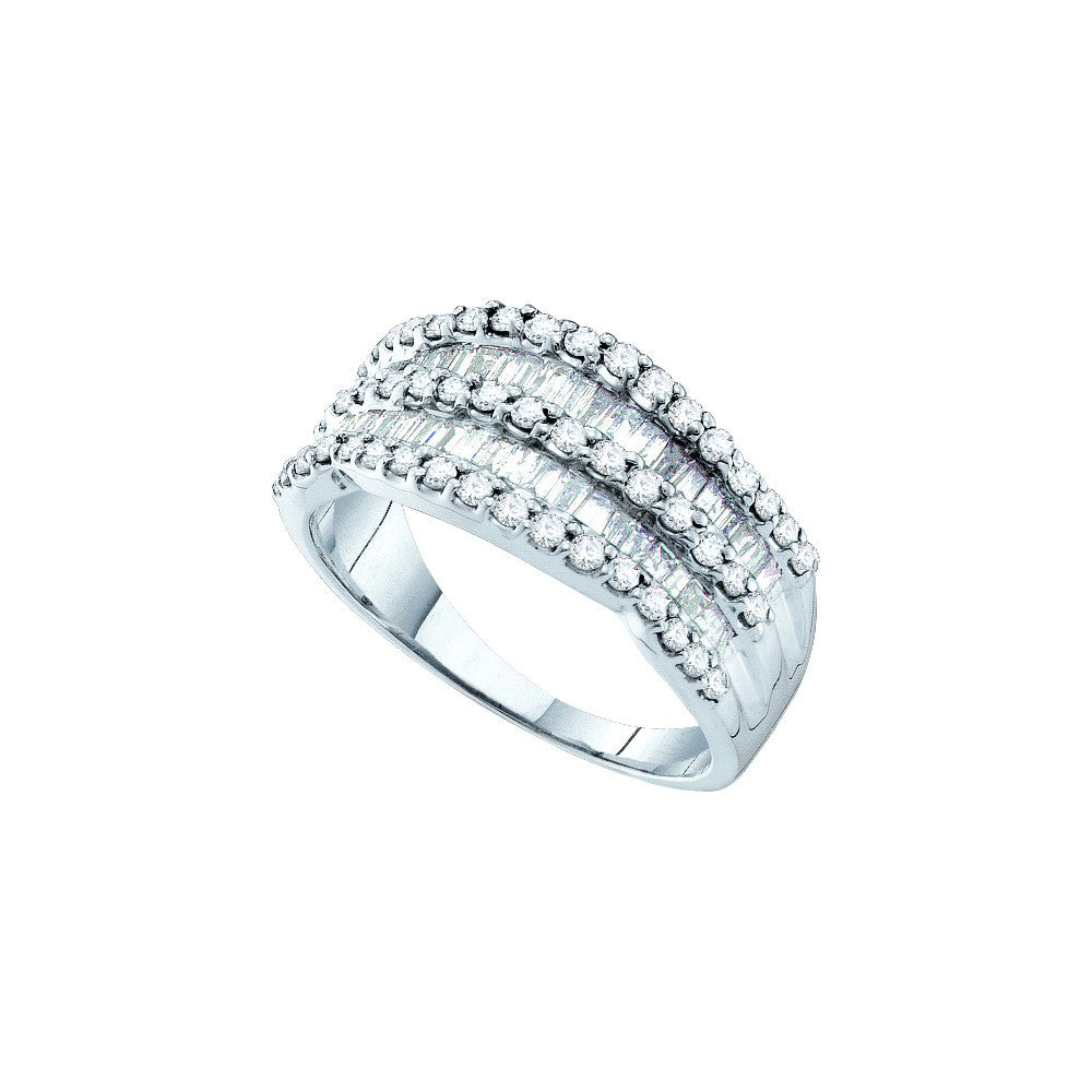 14kt White Gold Womens Baguette Natural Diamond Fashion Band Ring 1.00 Cttw