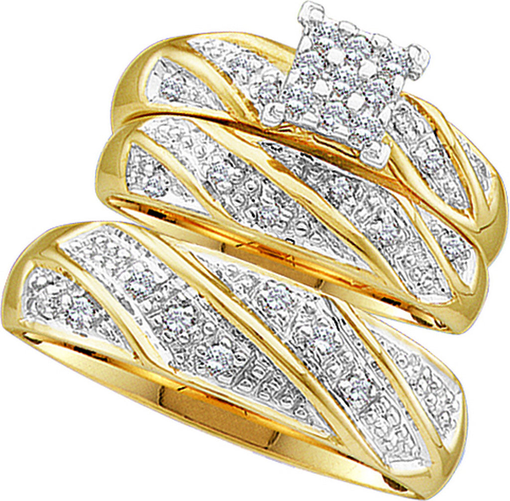 10k Yellow Gold Diamond Cluster Womens Mens Matching Trio Wedding Bridal Ring Set 1/4 Cttw