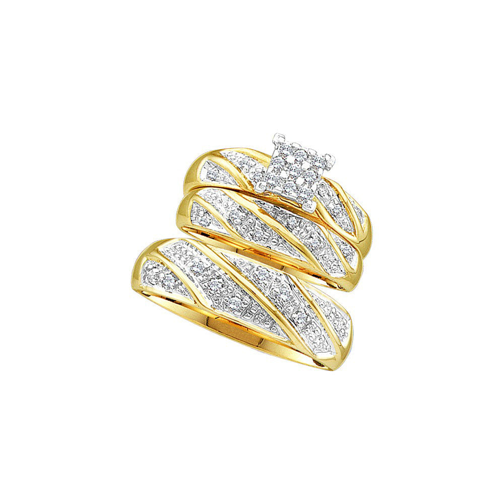 14k Yellow Gold Diamond Cluster Womens Mens Matching Trio Wedding Bridal Ring Set 1/4 Cttw