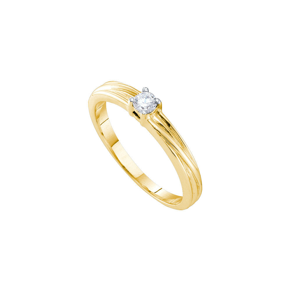 10k Yellow Gold Round Natural Diamond Solitaire Womens Promise Bridal Engagement Ring 1/10 Cttw