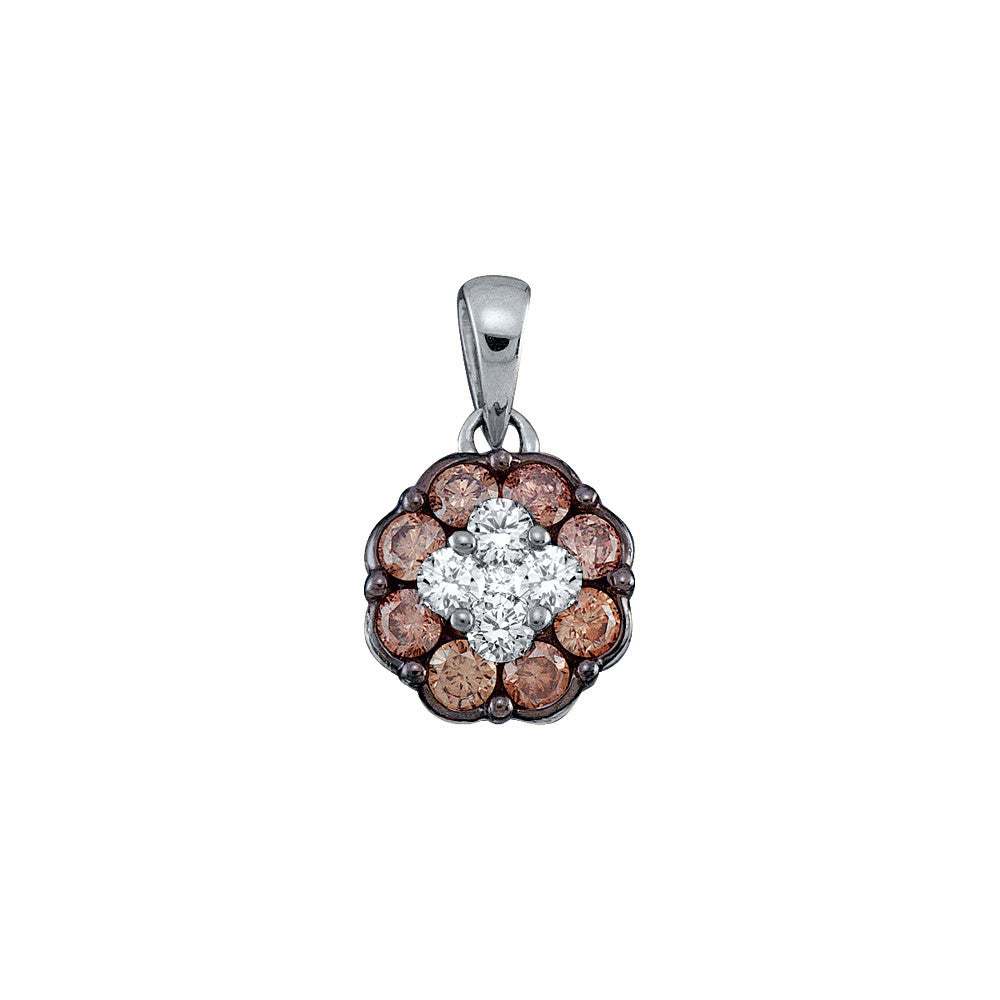 14k White Gold Cognac-brown Colored Round Diamond Flower Cluster Womens Pendant 1/2 Cttw