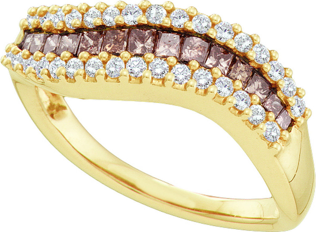 14k Yellow Gold Cognac-brown Colored Princess Diamond Womens Curved Contoured Fine Band 5/8 Cttw