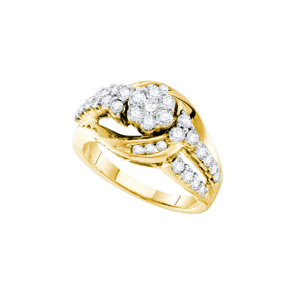 14kt Yellow Gold Womens Round Natural Diamond Cluster Fashion Ring 1.00 Cttw