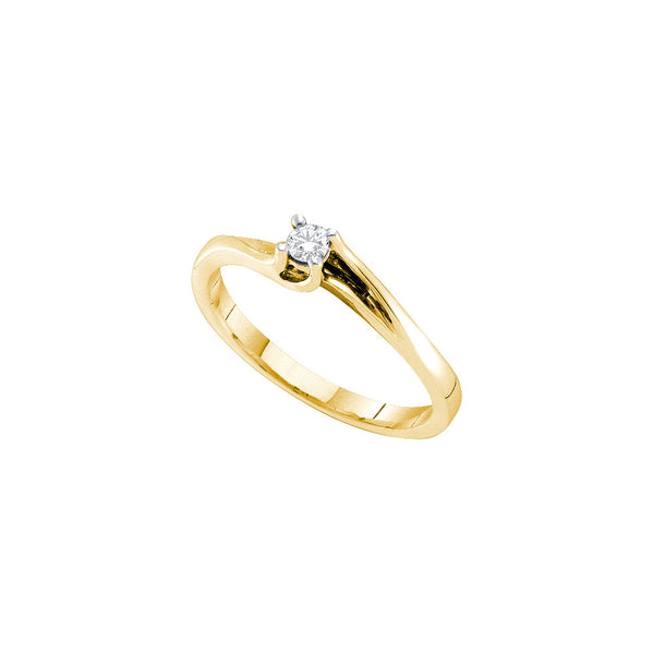 14k Yellow Gold Round Natural Diamond Solitaire Womens Fine Small Dainty Promise Ring 1/10 Cttw