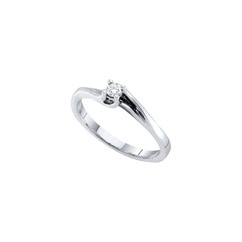 14k White Gold Round Natural Diamond Solitaire Womens Fine Small Dainty Promise Ring 1/10 Cttw