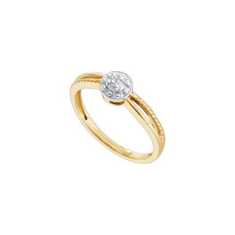 10k Yellow Gold Round Natural Diamond Solitaire Womens Split-shank Bridal Promise Ring 1/20 Cttw