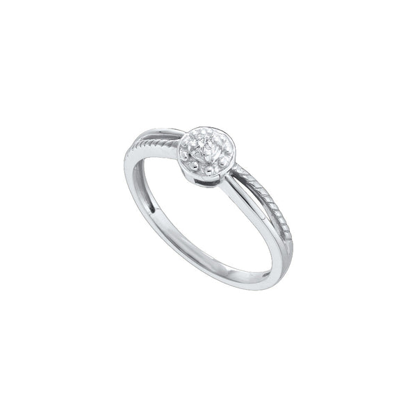 10k White Gold Round Natural Diamond Solitaire Womens Split-shank Bridal Promise Ring 1/20 Cttw