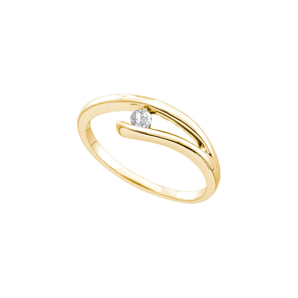 14k Yellow Gold Round Natural Diamond Solitaire Womens Promise Bridal Ring Small Dainty 1/12 Cttw