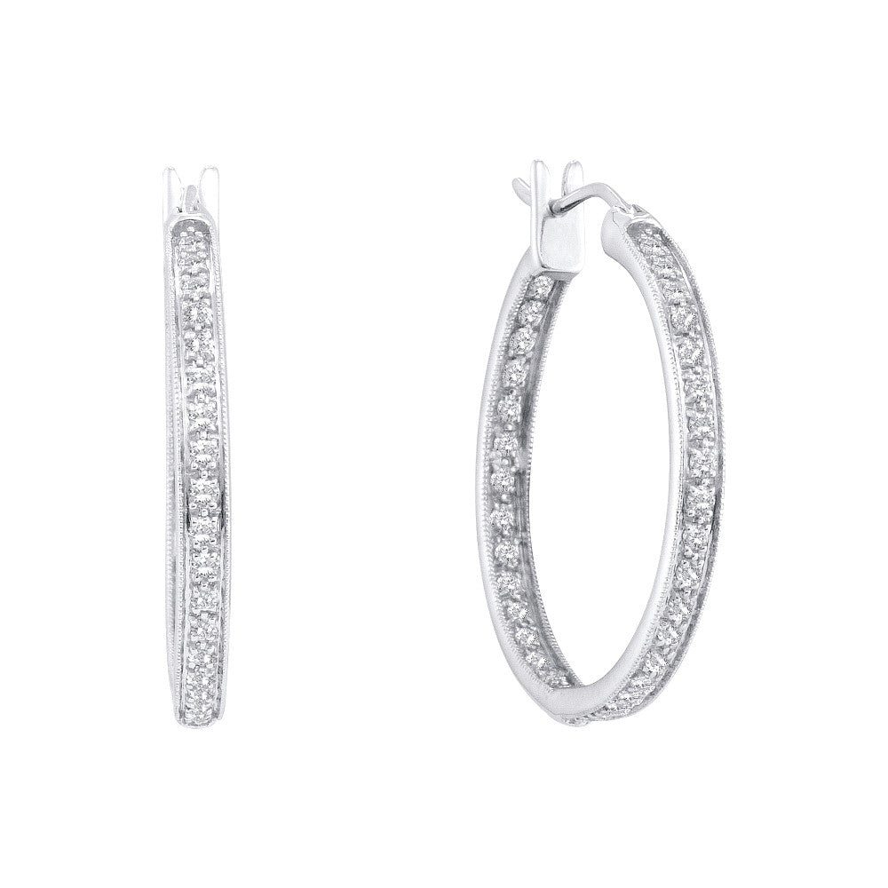 14k White Gold Round Natural Pave-set Diamond Womens Inside-Outside In Out Hoop Fine Earrings 1.00 Cttw