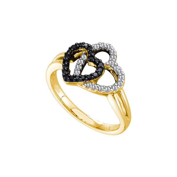 14kt Yellow Gold Womens Round Black Colored Diamond Double Heart Love Fashion Ring 1/4 Cttw