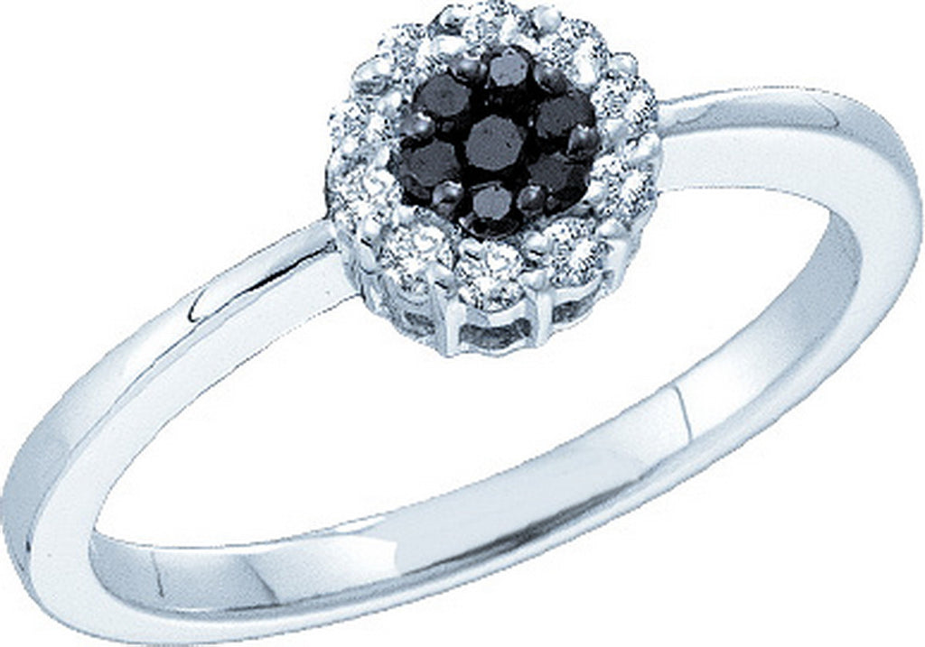 14k White Gold Black Colored Diamond Flower Cluster Womens Slender Dainty Delicate Ring 1/4 Cttw