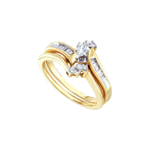 10k White Gold Marquise Natural Diamond Womens Wedding Bridal Ring