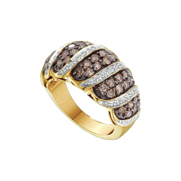 14kt Yellow Gold Womens Round Cognac-brown Colored Diamond Cluster Fashion Ring 1 & 1/2 Cttw