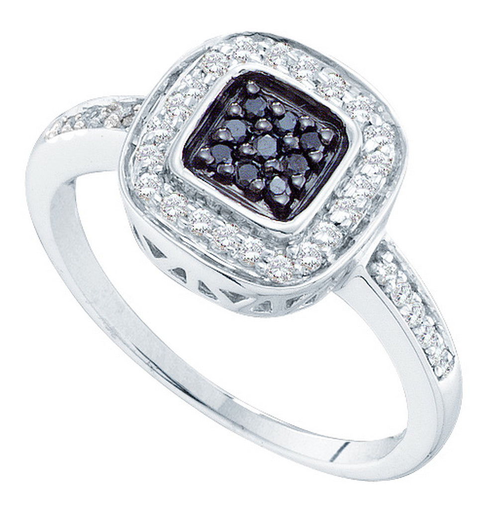 14k White Gold Black Colored Natural Diamond Womens Square Cluster Slender Fine Ring 1/4 Cttw