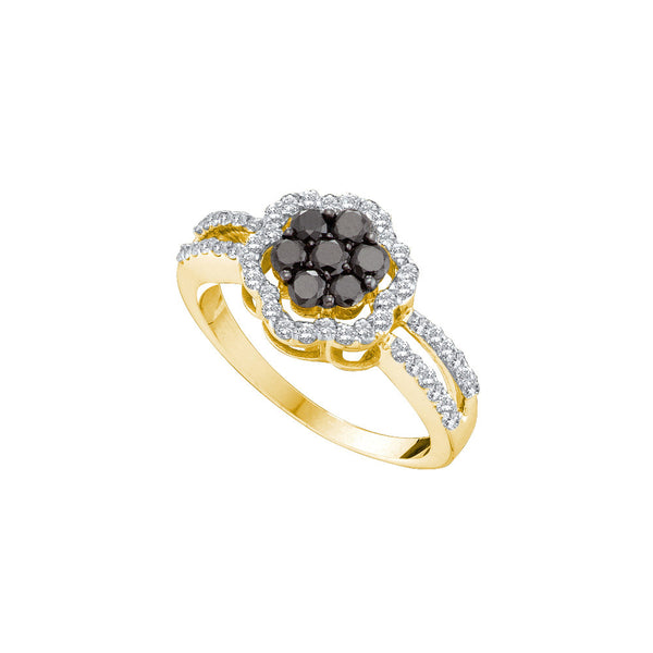 14kt Yellow Gold Womens Round Black Colored Diamond Cluster Fashion Ring 3/4 Cttw