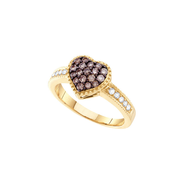 14kt Yellow Gold Womens Round Cognac-brown Colored Diamond Heart Love Fashion Ring 3/8 Cttw