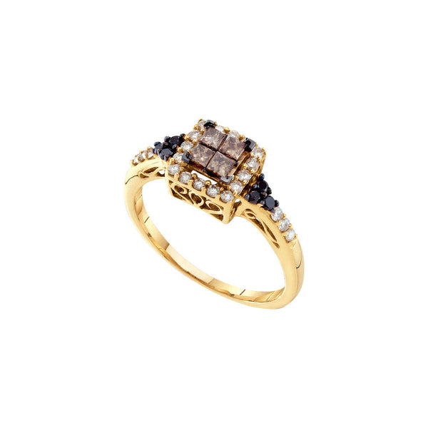 14kt Yellow Gold Womens Princess Cognac-brown Colored Diamond Cocktail Fashion Ring 1/2 Cttw