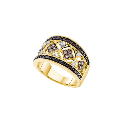 14kt Yellow Gold Womens Round Cognac-brown Colored Diamond Cocktail Fashion Ring 1/2 Cttw