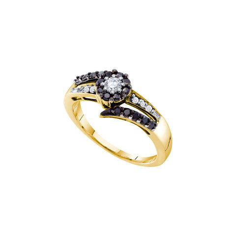 14kt Yellow Gold Womens Round Black Colored Diamond Round Fashion Ring 1/2 Cttw