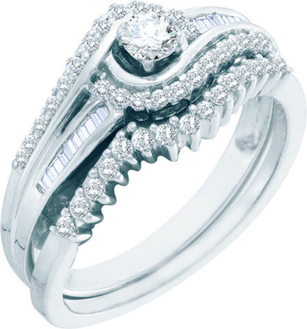10k White Gold Round Natural Diamond Womens Classic Wedding Bridal Ring Set 1/2 Cttw