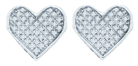 Sterling Silver White Natural Diamond Concave Womens Heart Screwback Stud Earrings 1/20 Cttw