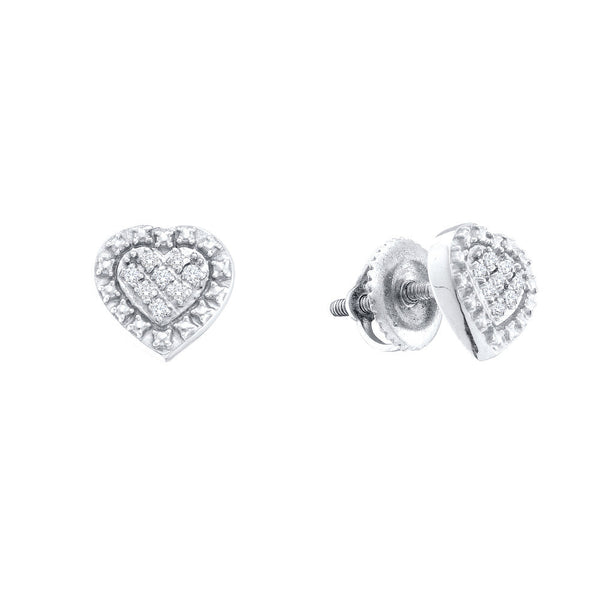 Sterling Silver Natural Diamond-accented Heart Screwback Womens Stud Earrings 1/20 Cttw