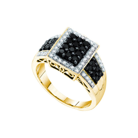 14kt Yellow Gold Womens Round Black Colored Diamond Square Cluster Fashion Ring 5/8 Cttw