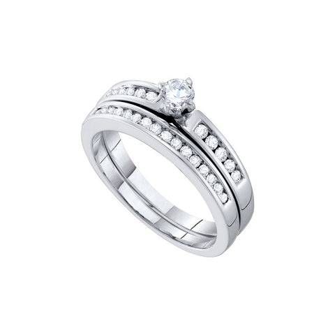10k White Gold Round Natural Round Diamond Solitaire Womens Wedding Bridal Ring Set 1/2 Cttw