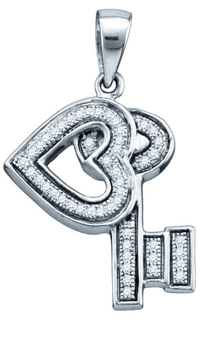 Sterling Silver Womens Round Natural Diamond Key Love Heart Pendant 1/8 Cttw